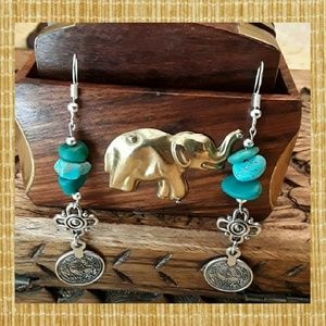 Jewelry - NEW.♥️♥️ Handcrafted Natural Turquoise Earrings